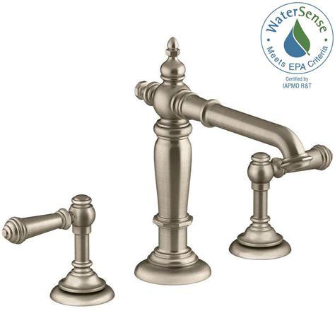 kohler artifacts   widespread  handle column design bathroom faucet  vibrant brushed