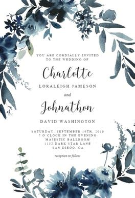 indigo flowers wedding invitation template