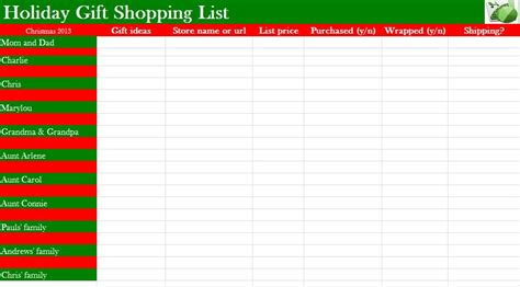 Christmas List Template