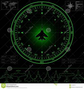 Radar Screen With Compass Royalty Free Stock Images