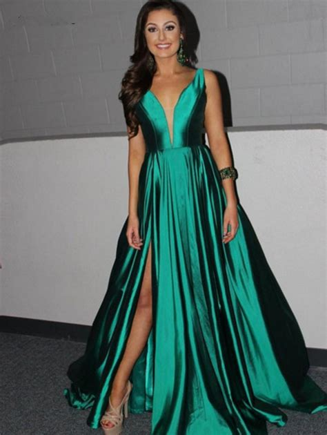 emerald green prom dress prom dresseslong green satin