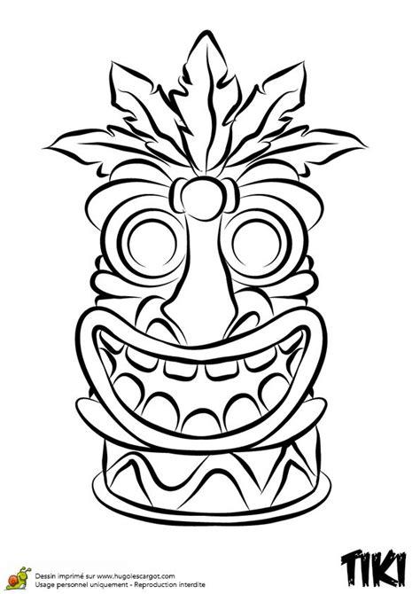 Coloriage de Tiki rigolo | Tiki head, Tiki faces