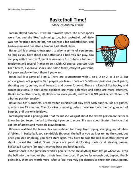 basketball time reading comprehension worksheet