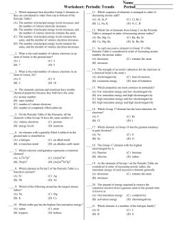 Name Per  Date Periodic Trends Study Guide Vocabulary