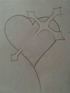 Cross Through Heart Drawing - phanie © 2016 - Feb 15, 2012