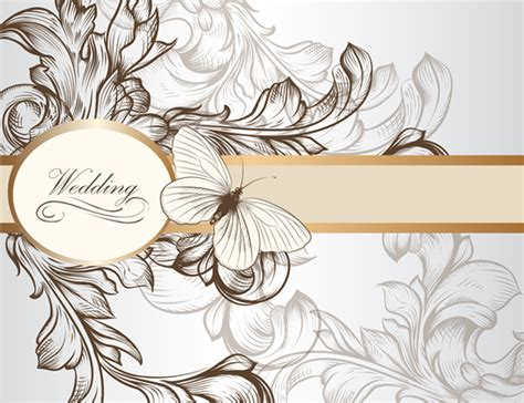draw floral wedding invitation background  vector