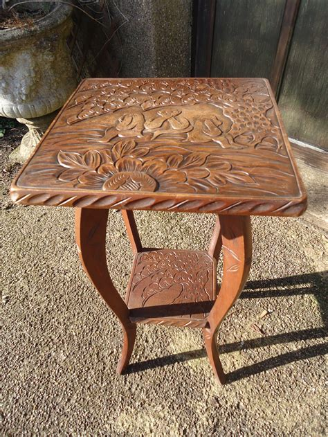 arts crafts carved table   wise monkeys