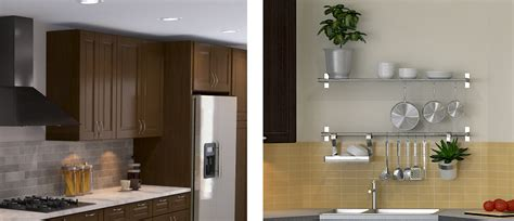 open shelves  wall cabinets
