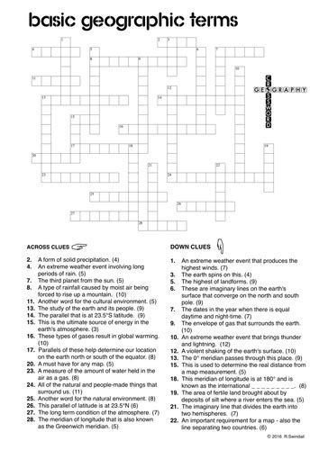 geography crossword 1 basic geographic terms by swintrek teaching resources tes