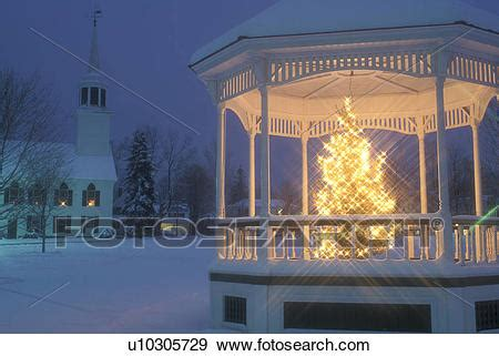 stock photograph  gazebo christmas tree winter church