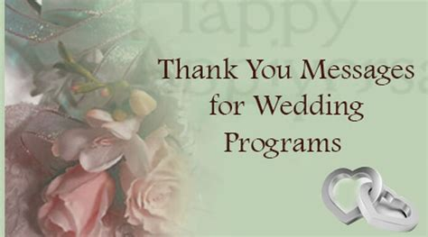 Thank You Messages For Wedding Programs