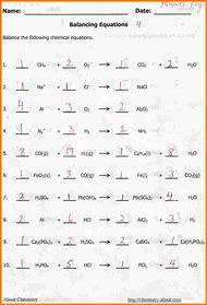 Pictures Balancing Chemical Equations Worksheet 1 Answer Key - Jplew