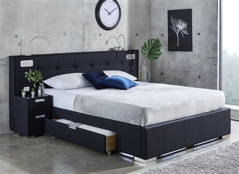 Cole Midnight Blue Fabric Bed Frame - With Sound System