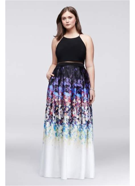 faux  piece  size dress  floral skirt davids