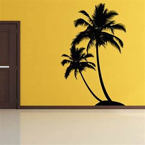 contemporary home decoration ideas with dual palm tree With beautiful palm tree decal for wall
