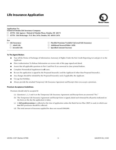 For − mercantile and governmental classes of business: Life Insurance Application Form Template Free Download