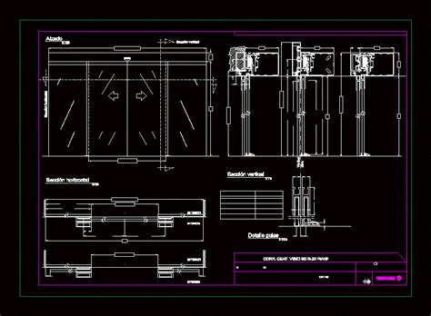 details curtin wall glass facade in autocad drawing