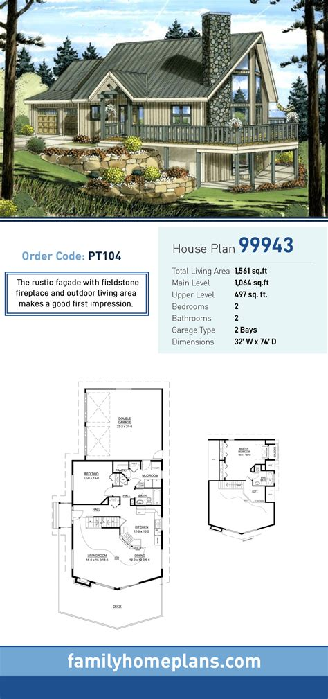 Contemporary Style House Plan 99943 with 2 Bed 2 Bath 2