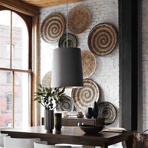 Cheap Home Interior Design Ideas - modern wall decoration with ethnic wicker plates bowls and baskets