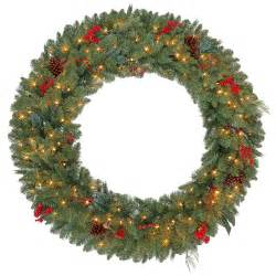 martha stewart living 48 in pre lit winslow fir artificial christmas wreath with clear lights