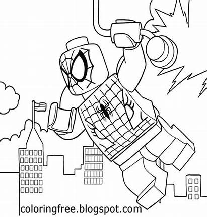 Lego Coloring Pages Avengers Marvel Printable Spiderman