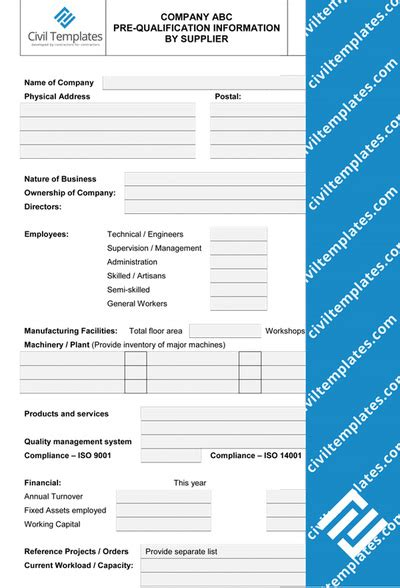 Pre Qualification Template by Procurement Civil Engineering Templates