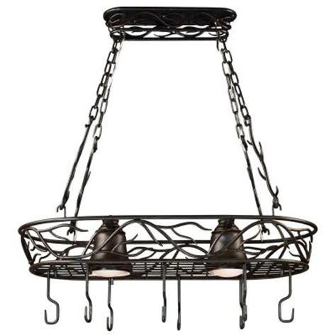 home depot pot rack kenroy home twigs 58 in 2 light bronze pot rack 90308brz