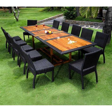 Table Jardin Teck by Salon De Jardin Teck Et Resine Tressee Ensemble Pour 12