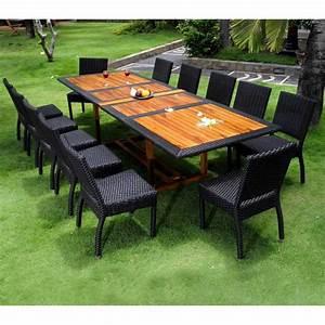 Table Teck Jardin : salon de jardin teck et resine tressee ensemble pour 12 personnes ~ Teatrodelosmanantiales.com Idées de Décoration