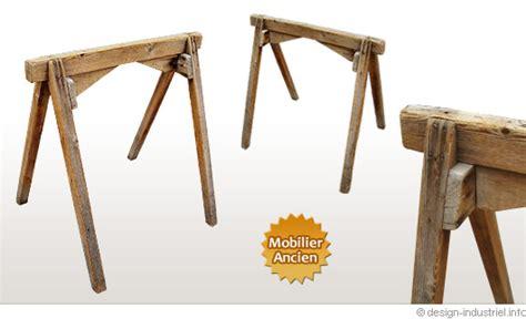 meuble classeur de bureau tréteaux en bois