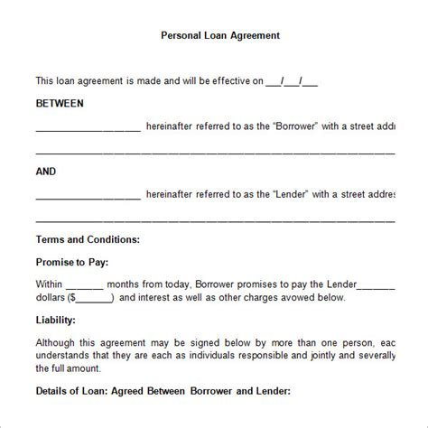 personal loan agreement template loan contract template 20 exles in word pdf free premium templates