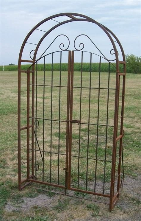 wrought iron arbor with gate wrought iron garden arbor 52 quot gate combination welded 1966