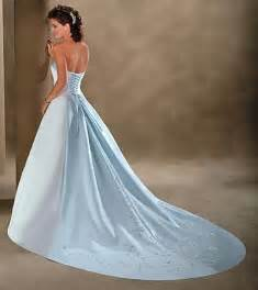 light blue wedding dress white and light blue satin simple strapless wedding gowns with trains