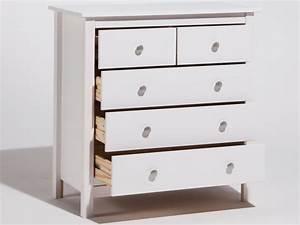 Commode 120 Cm : commode en bois massif avec 5 tiroirs hauteur 80cm berna ~ Teatrodelosmanantiales.com Idées de Décoration