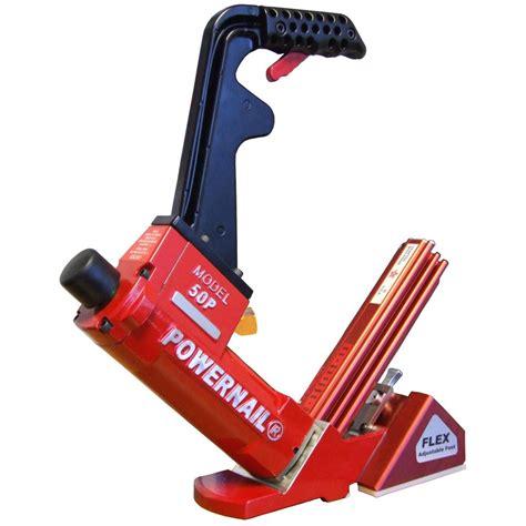 hardwood flooring nailer powernail pneumatic 18 gauge flex hardwood flooring cleat nailer 50pflexw the home depot