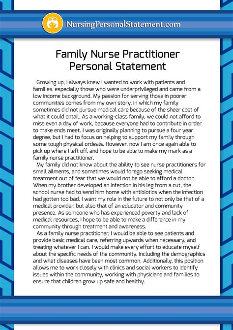 personal statement  nurse practitioner graduate