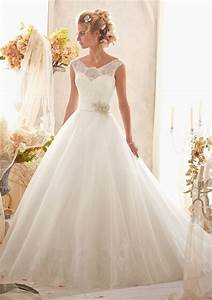 classic chantilly lace on tulle with wide hemline and With chantilly lace wedding dress