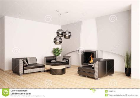 Modernes Wohnzimmer Mit Kamin Innen3d Stockfotos Bild