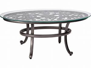 woodard new orleans cast aluminum 52 x 28 round glass top With glass top patio coffee table