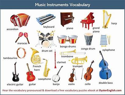 Musical Instruments Vocabulary English Instrument Song Illustrations