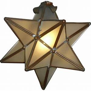 Point star pendant light fixture with leaded frosted