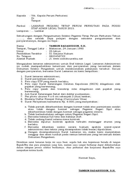 Lamaran Kerja Docx by 8 Contoh Surat Lamaran Kerja Bumn Terbaik Dan Terbaru File