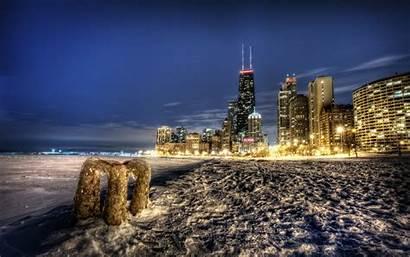 Chicago Desktop Snow Hdr Winter Skyline Illinois