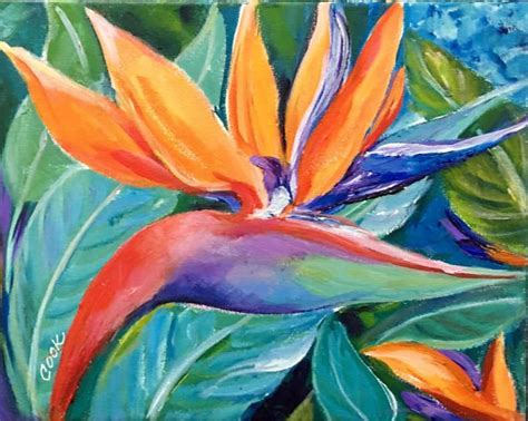 How To Paint A Bird Of Paradise Colorful Flower Acrylic