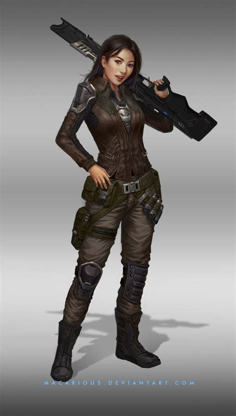 rebellion female soldier character design  macarious