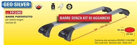box portatutto auto gev barre portatutto per auto gev geo silver 9200 in alluminio
