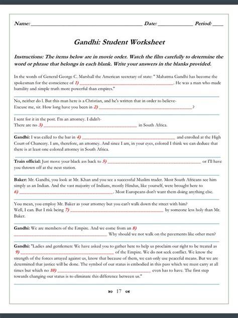 gandhi worksheets 123 cloze fill in problems