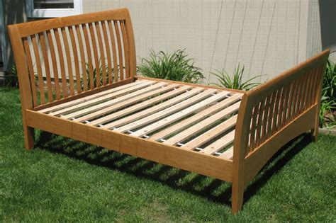 queen size cherry sleigh bed woodworking blog  plans