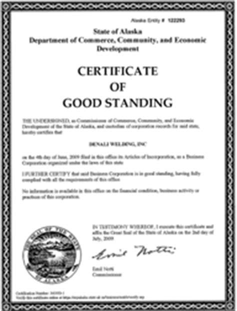 Certificate Of Good Standing by Alaska Good Standing Certificate Alaska Certificate Of