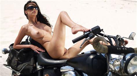Anna Sbitnaya Rides Naked A Classic Harley Davidson Bike
